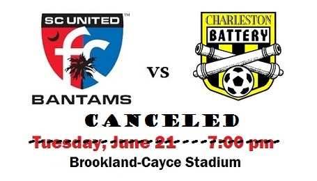 Charleston Battery VS Bantams game Canceled